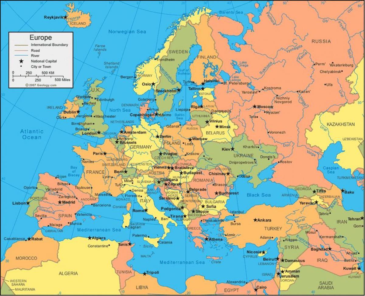 Karta Na Evropa I Rusiya Karta Na Evropa Rusiya Iztochna Evropa